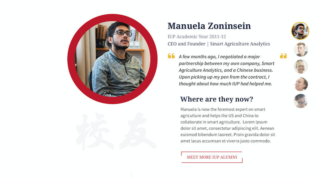 IUP alumni profiles are integrated meaningfully throughout the website